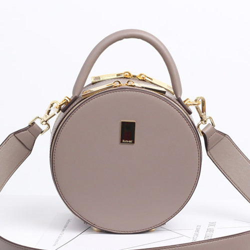 Leather Circle Bag Grey Circle Purse Crossbody Handbag Clutch Bags