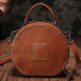 Brown Rivet Leather Circle Bag Round Purses Crossbody Bags - Annie Jewel