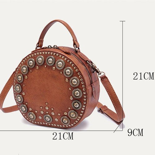 ... Brown Rivet Leather Circle Bag Round Purses Crossbody Bags - Annie  Jewel ...