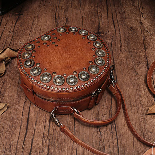 99aae5bdd ... Brown Rivet Leather Circle Bag Round Purses Crossbody Bags - Annie Jewel  ...
