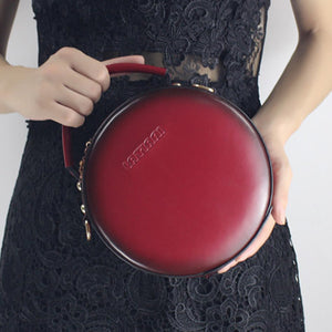 Red Circle Bag Leather Canteen Bag Round Leather Purse Crossbody Bag - Annie Jewel