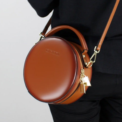 Brown Leather Circle Bag Round Purses Crossbody Bags - Annie Jewel ...