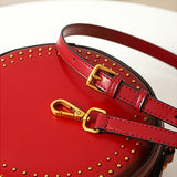 Pink Circle Bag Studded Round Leather Purse Circle Bag Leather - Annie Jewel