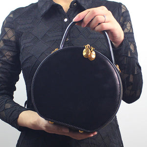 Brown Circular Handbag Circle Bag Round Leather Purse - Annie Jewel