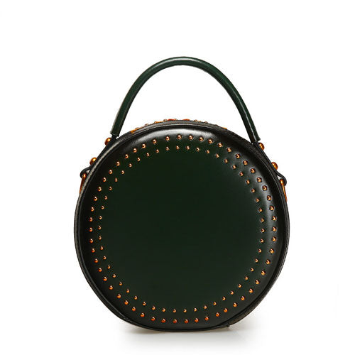 Studded Leather Round Circle Cross Body Bag - Annie Jewel