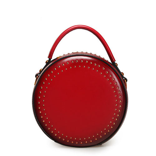 Red Round Shoulder Circle Cross Body Bag - Annie Jewel