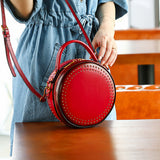 Small Leather Round Circle Bags Purses - Annie Jewel