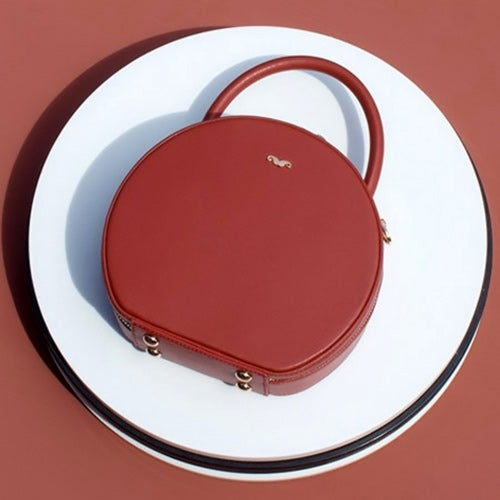 Leather Circle Bag Circular Round Handle Handbags Purse