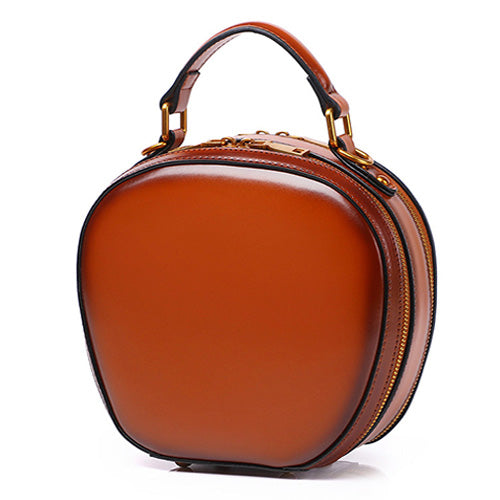 Brown Leather Circle Bag Round Purses Crossbody Bags - Annie Jewel