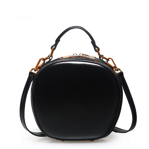 Leather Black Circle Bag Circle Purse Round Purse Round Bag Crossbody Bag Handbag Clutch