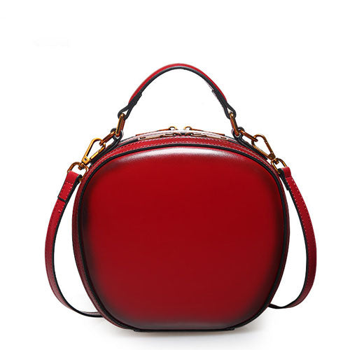 Leather Red Circle Bag Circle Purse Round Purse Round Bag Crossbody Bag Handbag Clutch