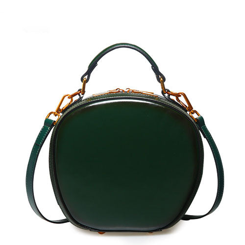 Round Leather Crossbody Bag Purse - Annie Jewel