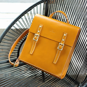 "Handmade Personalized Leather Satchel 13"" Structured Backpack Book Bag Purse - Annie Jewel"