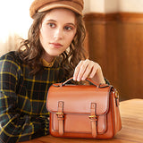 Genuine Red Leather Satchel Handbags Purses - Annie Jewel