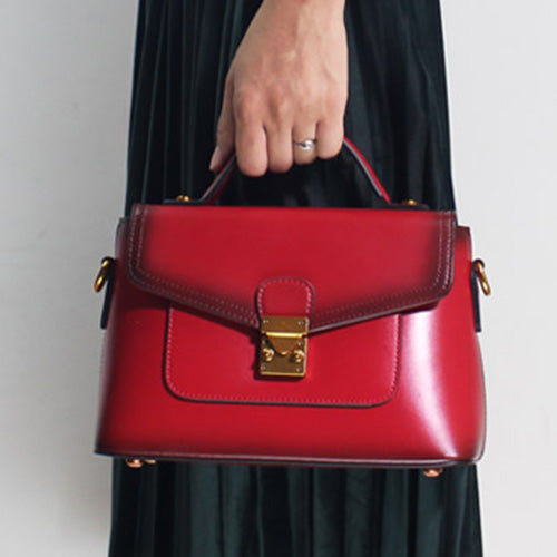Red Leather Satchel Handbags Bags Purse - Annie Jewel