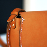 Women's Leather Tan Small Satchel Saddle Bag Purse - Annie Jewel