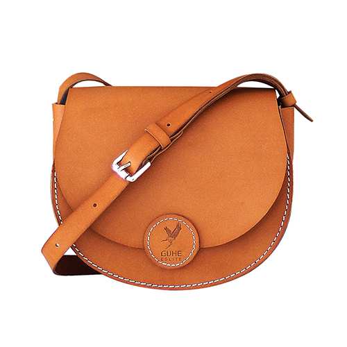 Women's Leather Tan Small Satchel Saddle Bag Purse
