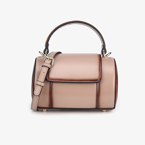 Leather Round Barrel Cylinder Crossbody Bag - Annie Jewel