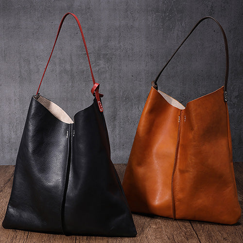 Leather Vertical Tote Bucket Bag Purse - Annie Jewel