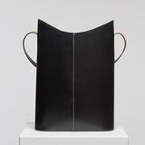 "Minimal Black Leather Vertical 13"" Tote Bag For Work - Annie Jewel"