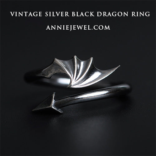 Unique Dragon Silver Ring Devil Tail Arrows Zodiac Adjustable Ring Gift - Annie Jewel