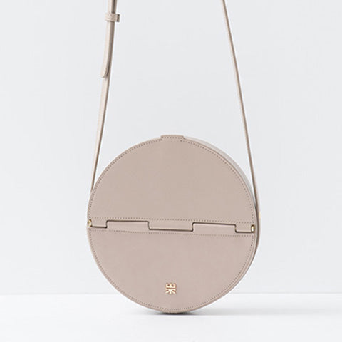 Grey Leather Circle Bag Round Crossbody Clutch Bags Purses