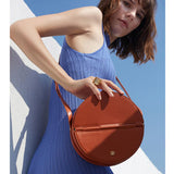 Round Leather Crossbody Bag Leather Circle Bag