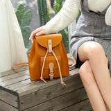 Handmade Personalized Small Leather Drawstring Backpack Bag Purse - Annie Jewel