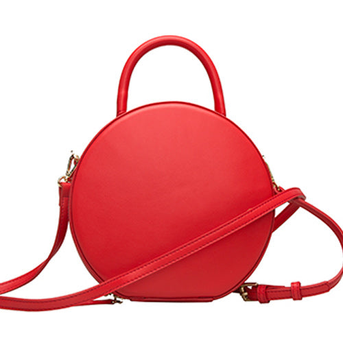 Red Circle Bag Round Leather Purse Bag - Annie Jewel