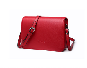 Red Leather Small Flap Square Crossbody Bag Purse - Annie Jewel