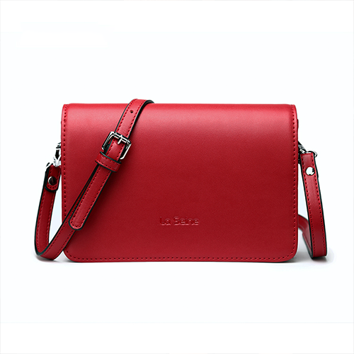 Red Leather Small Flap Square Crossbody Bag Purse