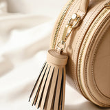 Small Round Leather Circle Crossbody Bags - Annie Jewel