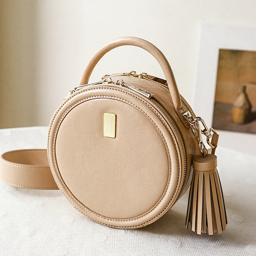 Small Round Leather Purse Shoulder Circle Crossbody Bag - Annie Jewel