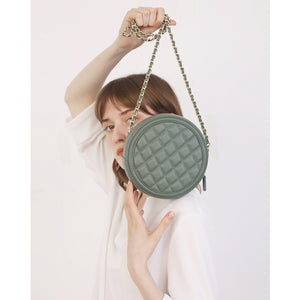 Green Round Leather Purse Quilted Circle Crossbody Bag Purse - Annie Jewel