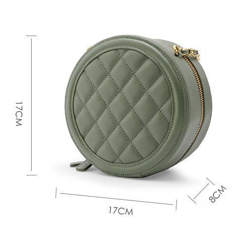 Round Leather Quilted Circle Bag Purse - Annie Jewel