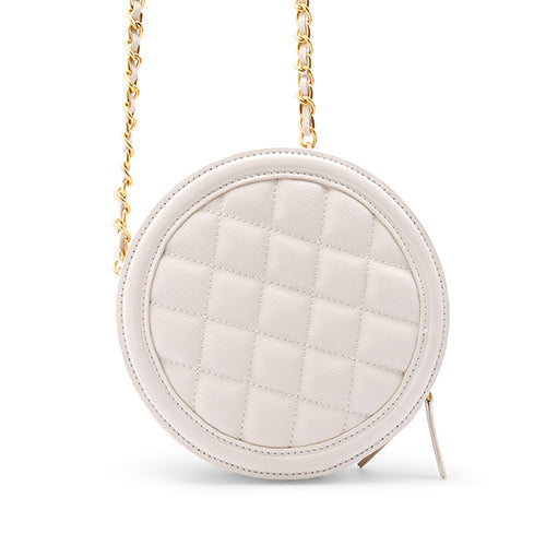 White Round Leather Purse Quilted Circle Crossbody Bag Purse