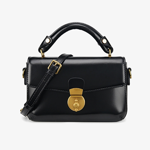 Black Leather Small Satchel Crossbody Bags - Annie Jewel