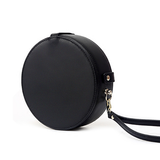 Small Leather Black Circle Round Purse Crossobdy Bag Canteen Clutch - Annie Jewel