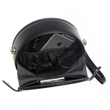 Black Circle Round Leather Crossobdy Bag - Annie Jewel