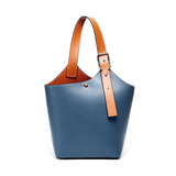 Small Leather Bucket Tote Shopper Bags Purse - Annie Jewel