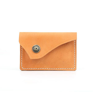 Handmade leather vintage men short wallet coin card change small purse wallet - Annie Jewel