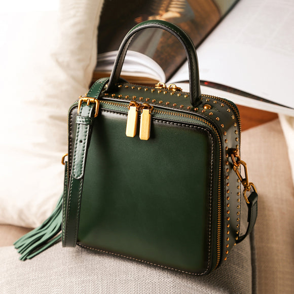Green Leather Structured Satchel Purse Square Crossbody Bag