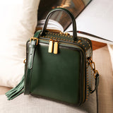 Green Leather Structured Satchel Purse Square Crossbody Bag - Annie Jewel