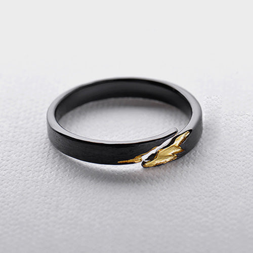 Unique Black Silver Adjustable Ring Band Jewelry Gift Women