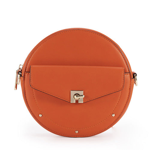 Unique Orange Leather Round Purses Circle Bags