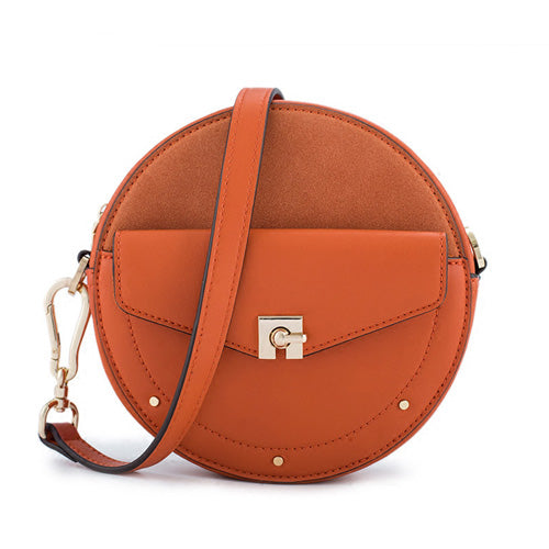 Unique Leather Circle Bag Orange Circle Purse Crossbody Handbag Clutch Bags