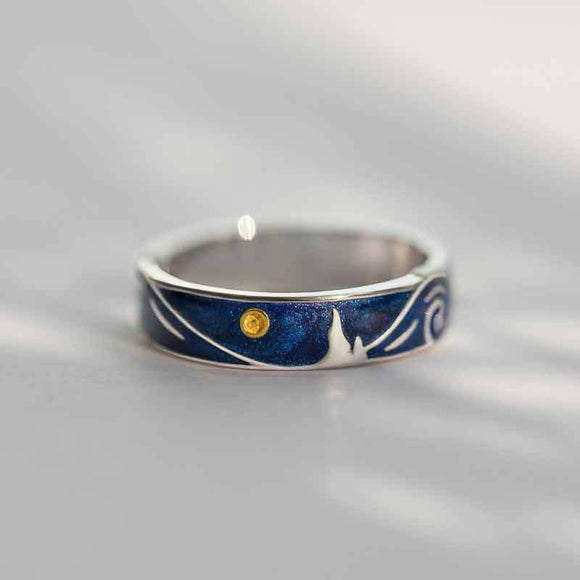 Unique Silver Adjustable Painting Band Rings Gift For Womens