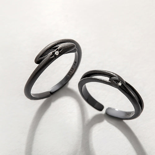 Unique Silver Black Adjustable Cross Bands Rings For Women