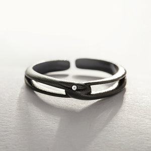 Unique Silver Black Adjustable Cross Bands Rings For Women - Annie Jewel