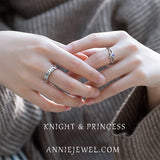Unique Silver Moonstone Adjustable Knight&Princess Rings For Women - Annie Jewel